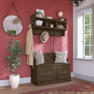 Kathy Ireland Bush Furniture Woodland 40W Entryway Bench and Wall Mounted Coat Rack Ash Brown - WDL009ABR