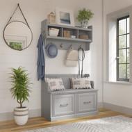 Kathy Ireland Bush Furniture Woodland 40W Entryway Bench and Wall Mounted Coat Rack Cape Cod Gray - WDL009CG