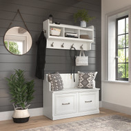 Kathy Ireland Bush Furniture Woodland 40W Entryway Bench and Wall Mounted Coat Rack White Ash - WDL009WAS
