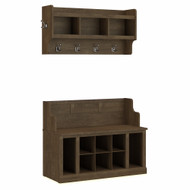 Kathy Ireland Bush Furniture Woodland 40W Entryway Bench and Wall Mounted Coat Rack Ash Brown - WDL010ABR