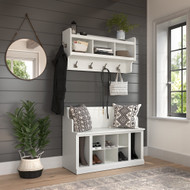 Kathy Ireland Bush Furniture Woodland 40W Entryway Bench and Wall Mounted Coat Rack White Ash - WDL010WAS