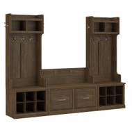 Kathy Ireland Bush Furniture Woodland Entryway Storage Set with Hall Trees and Shoe Bench Ash Brown - WDL011ABR