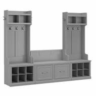 Kathy Ireland Bush Furniture Woodland Entryway Storage Set with Hall Trees and Shoe Bench Cape Cod Gray - WDL011CG