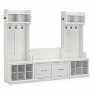 Kathy Ireland Bush Furniture Woodland Entryway Storage Set with Hall Trees and Shoe Bench White Ash - WDL011WAS