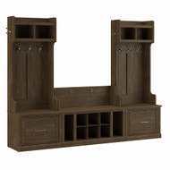 Kathy Ireland Bush Furniture Woodland Entryway Storage Set with Hall Trees and Shoe Bench  Ash Brown - WDL012ABR