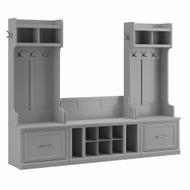 Kathy Ireland Bush Furniture Woodland Entryway Storage Set with Hall Trees and Shoe Bench  Cape Cod Gray - WDL012CG