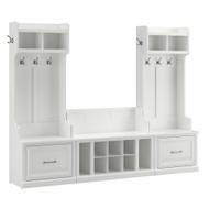 Kathy Ireland Bush Furniture Woodland Entryway Storage Set with Hall Trees and Shoe Bench White Ash - WDL012WAS