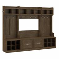 Kathy Ireland Bush Furniture Woodland Full Entryway Storage Set with Coat Rack and Shoe Bench Ash Brown - WDL013ABR