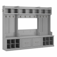 Kathy Ireland® Home by Bush Furniture Woodland Full Entryway Storage Set with Coat Rack and Shoe Bench with Doors in Cape Cod Gray - WDL013CG