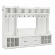 Kathy Ireland Bush Furniture Woodland Full Entryway Storage Set with Coat Rack and Shoe Bench White Ash - WDL013WAS