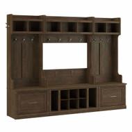 Kathy Ireland Bush Furniture Woodland Full Entryway Storage Set with Coat Rack and Shoe Bench Ash Brown - WDL014ABR