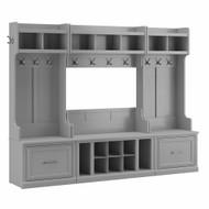Kathy Ireland Bush Furniture Woodland Full Entryway Storage Set with Coat Rack and Shoe Bench Cape Cod Gray - WDL014CG