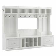 Kathy Ireland Bush Furniture Woodland Full Entryway Storage Set with Coat Rack and Shoe Bench White Ash - WDL014WAS