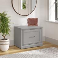 Kathy Ireland Bush Furniture Woodland 24W Small Shoe Bench Cape Cod Gray - WDS124CG-03