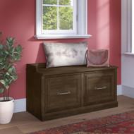 Kathy Ireland Bush Furniture Woodland 40W Shoe Storage Bench Ash Brown - WDS140ABR-03