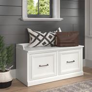 Kathy Ireland Bush Furniture Woodland 40W Shoe Storage Bench White Ash - WDS140WAS-03