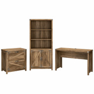 Kathy Ireland Bush Furniture Cottage Grove 48W Farmhouse Writing Desk Package Reclaimed Pine - CGR002RCP