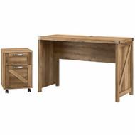 Kathy ireland Bush Furniture Cottage Grove 48W Farmhouse Writing Desk w 2 Drawer Mobile File Reclaimed Pine - CGR003RCP