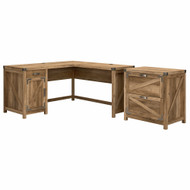 Kathy Ireland Bush Furniture Cottage Grove 60W L Shaped Desk w 2 Drawer Lateral File Reclaimed Pine - CGR004RCP
