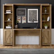 Kathy Ireland Home by Bush Furniture Cottage Grove 48W Farmhouse Writing Desk with Bookshelves in Reclaimed Pine - CGR010RCP