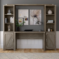 Kathy Ireland Home by Bush Furniture Cottage Grove 48W Farmhouse Writing Desk with Bookshelves in Restored Gray - CGR010RTG