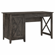 Bush Furniture Key West 54W Computer Desk with Keyboard Tray and Storage in Dark Gray Hickory - KWD154GH-03