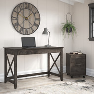 Bush Furniture Key West 48W Writing Desk with 2 Drawer Mobile File Cabinet in Dark Gray Hickory - KWS001GH