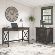 Bush Furniture Key West 48W Writing Desk with 2 Drawer Lateral File Cabinet in Dark Gray Hickory - KWS003GH