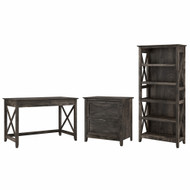 Bush Furniture Key West 48W Writing Desk with 2 Drawer Lateral File Cabinet and 5 Shelf Bookcase in Dark Gray Hickory - KWS004GH