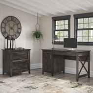 Bush Furniture Key West 54W Computer Desk with Storage and 2 Drawer Lateral File Cabinet in Dark Gray Hickory - KWS008GH