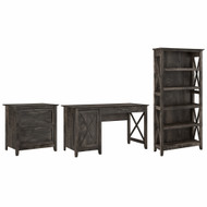 Bush Furniture Key West 54W Computer Desk with 2 Drawer Lateral File Cabinet and 5 Shelf Bookcase in Dark Gray Hickory - KWS009GH