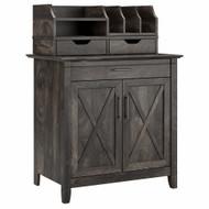 Bush Furniture Key West Secretary Desk with Storage and Desktop Organizers in Dark Gray Hickory - KWS011GH