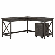 Bush Furniture Key West 60W L Shaped Desk with 2 Drawer Mobile File Cabinet in Dark Gray Hickory - KWS013GH
