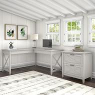 Bush Furniture Key West 60W L Shaped Desk with 2 Drawer Lateral File Cabinet in Linen White Oak - KWS014LW