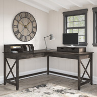Bush Furniture Key West 60W L Shaped Desk with Desktop Organizers in Dark Gray Hickory - KWS015GH