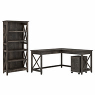 Bush Furniture Key West 60W L Shaped Desk with 2 Drawer Mobile File Cabinet and 5 Shelf Bookcase in Dark Gray Hickory - KWS016GH