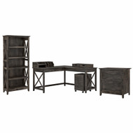 Bush Furniture Key West 60W L Shaped Desk with File Cabinets, Bookcase and Desktop Organizers in Dark Gray Hickory - KWS018GH