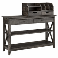 Bush Furniture Key West Console Table with Storage and Desktop Organizers in Dark Gray Hickory - KWS028GH