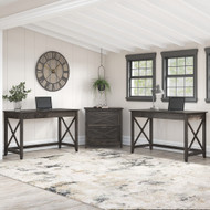 Bush Furniture Key West 2 Person Desk Set with Lateral File Cabinet in Dark Gray Hickory - KWS047GH
