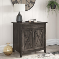 Bush Furniture Key West Secretary Desk with Keyboard Tray and Storage Cabinet in Dark Gray Hickory - KWS132GH-03