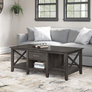 Bush Furniture Key West Coffee Table with Storage in Dark Gray Hickory - KWT148GH-03
