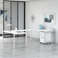 Bush Furniture 400 Series Collection 60W U Shaped Desk with 3 Drawer Mobile File Cabinet White - 400S247WH