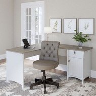 Bsh Furniture Salinas Collection L-Shaped Desk with Storage Shiplap Gray and White - SAD160G2W-03