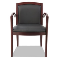 Alera Reception Lounge 500 Series Arch Back Solid Wood Chair Black Seat/Back Mahogany Base - ALERL5219M