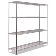 Alera BA Plus Wire Shelving Kit 4 Shelves Black Anthracite Plus - ALESW207218BA