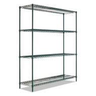 Alera BA Plus Wire Shelving Kit 4 Shelves Black Anthracite Plus - ALESW207224BA