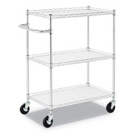 Alera 3-Shelf Wire Cart with Liners Silver - ALESW333018SR