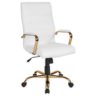 Flash Furniture High Back White LeatherSoft Executive Swivel Office Chair with Gold Frame - GO-2286H-WH-GLD-GG