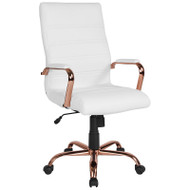 Flash Furniture High Back White LeatherSoft Executive Swivel Office Chair with Rose Gold Frame - GO-2286H-WH-RSGLD-GG