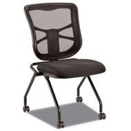 Alera Elusion Mesh Nesting Chairs, Black (2-Pack) - EL4915